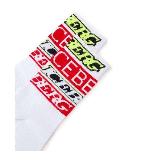 ICEBERG white socks with red and fluro-green Iceberg logo