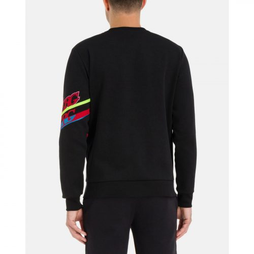 ICEBERG black cotton sweatshirt with red and blue Iceberg logo on sleeve