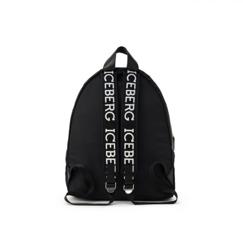 ICEBERG black backpack with logo on back and straps