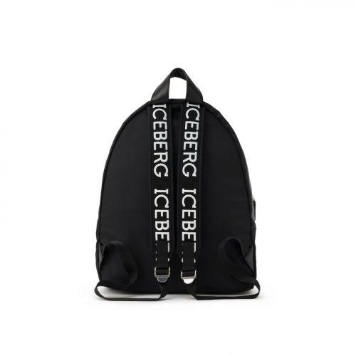 ICEBERG black backpack with logo on back and straps