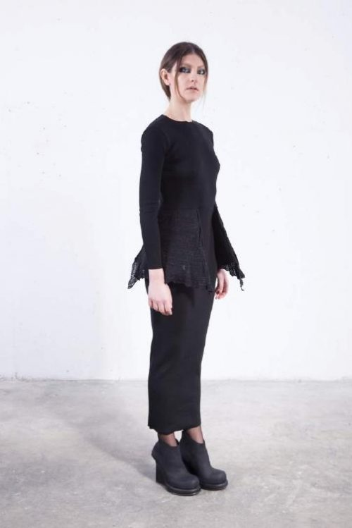 Dress   streched long sleeves distressed sides black
