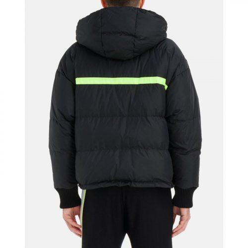 ICEBERG black hooded down jacket with large Iceberg logo and fluro-green drawstring