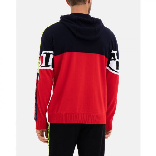 .ICEBERG red and black wool hooded sweat shirt with graffiti Iceberg logo