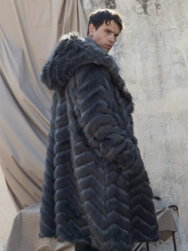 ACOLYTE FAUX-FUR OVERCOAT GREY