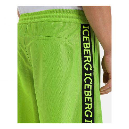ICEBERG fluro-green Bermuda shorts with black side stripe