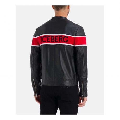 .ICEBERG black leather jacket with red Iceberg stripe