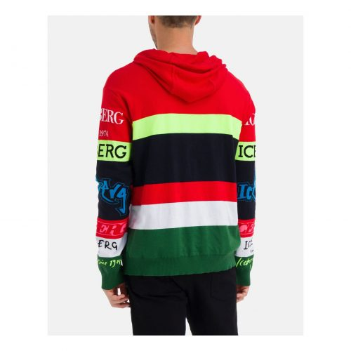 .ICEBERG multicolour hooded sweatshirt with multiple Iceberg logos
