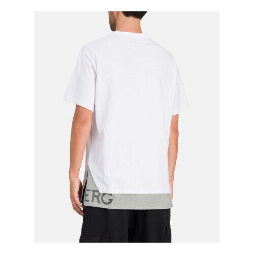 . White T-shirt with Iceberg logo on gray hem