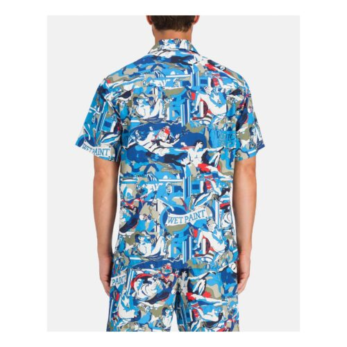. Short-sleeved Iceberg shirt with red and blue Michelangelo design.