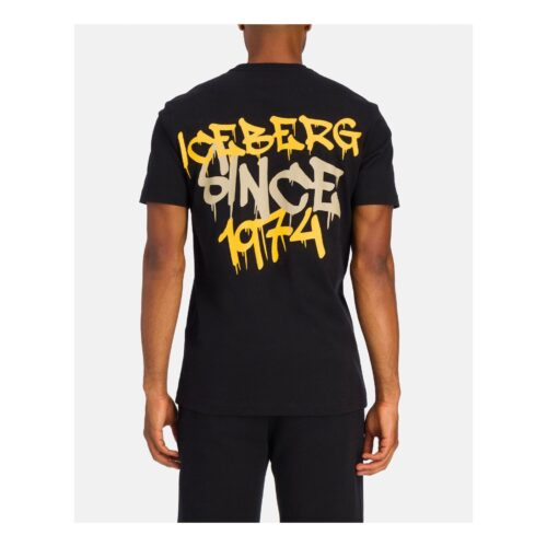 . Black Iceberg T-shirt with graffiti lettering in yellow .