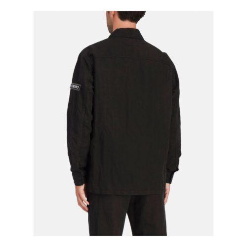 . Black long-sleeved Iceberg shirt with khaki green pocket