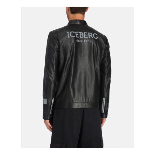 . Black leather motor racer jacket Iceberg jacket