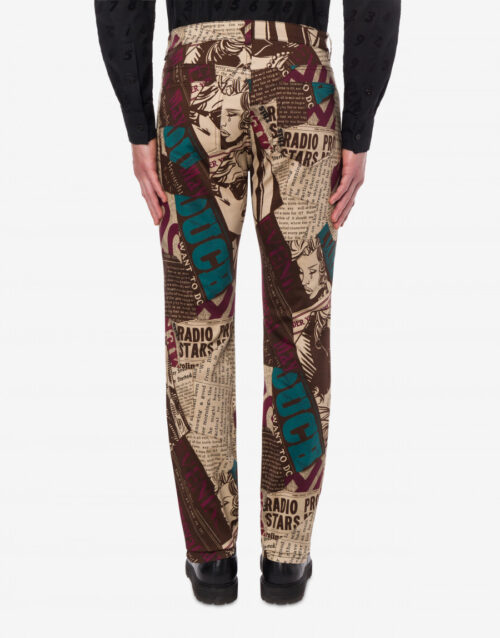 .  MOSCHINO NEWSPAPERS STRETCH COTTON TROUSERS