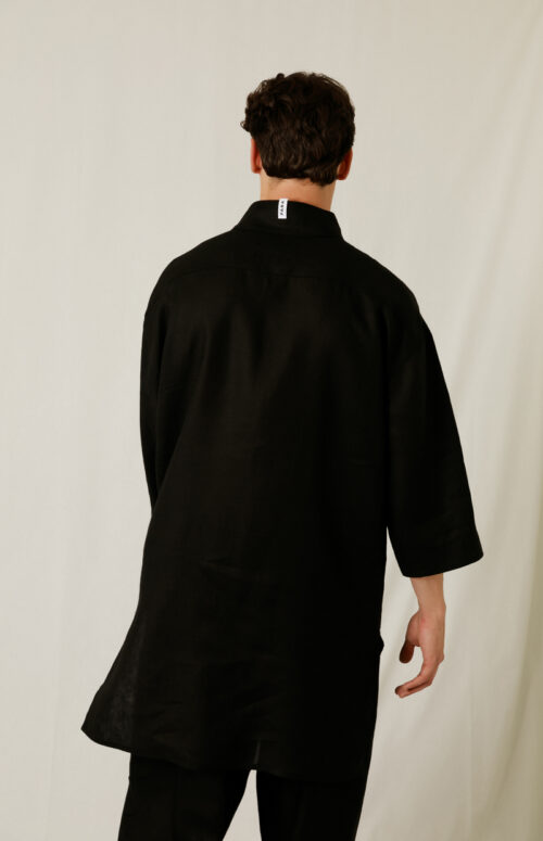 LINEN KAFTAN SHIRT  BLACK