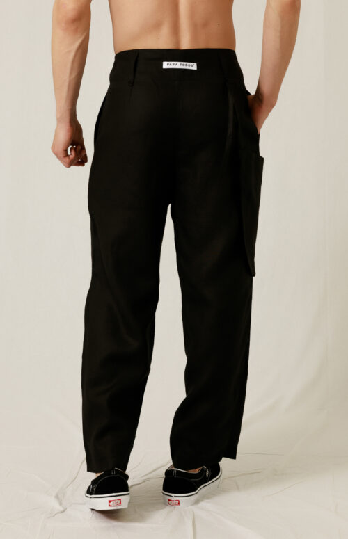 LINEN KNAPSACK PANTS BLACK